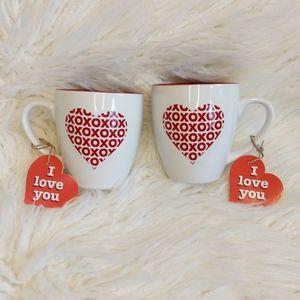 NWT XO Heart I Love You Set of Mugs